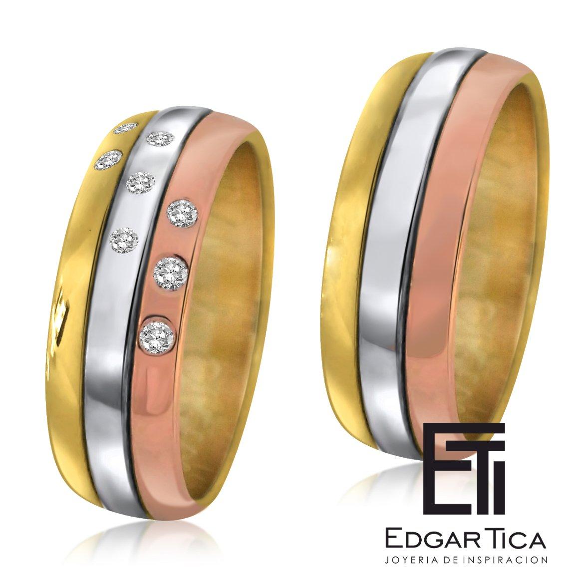 Anillos de matrimonio de oro blanco, oro rosado y oro amarillo 18k