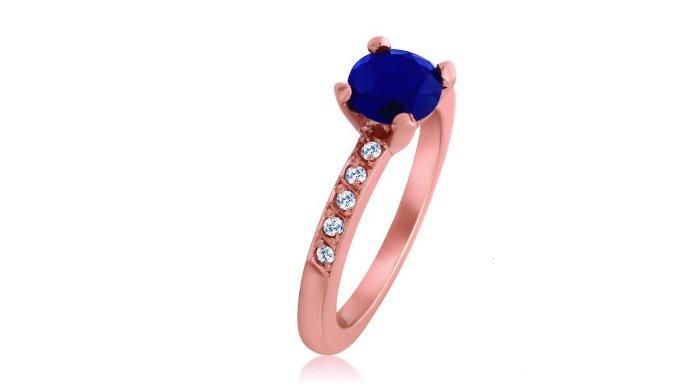 joyería online perú sede Cusco anillo de compromiso oro rosado 18k con zafiro